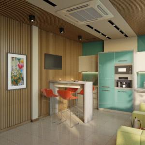 Дизайн интерьера кухни столовой офис
