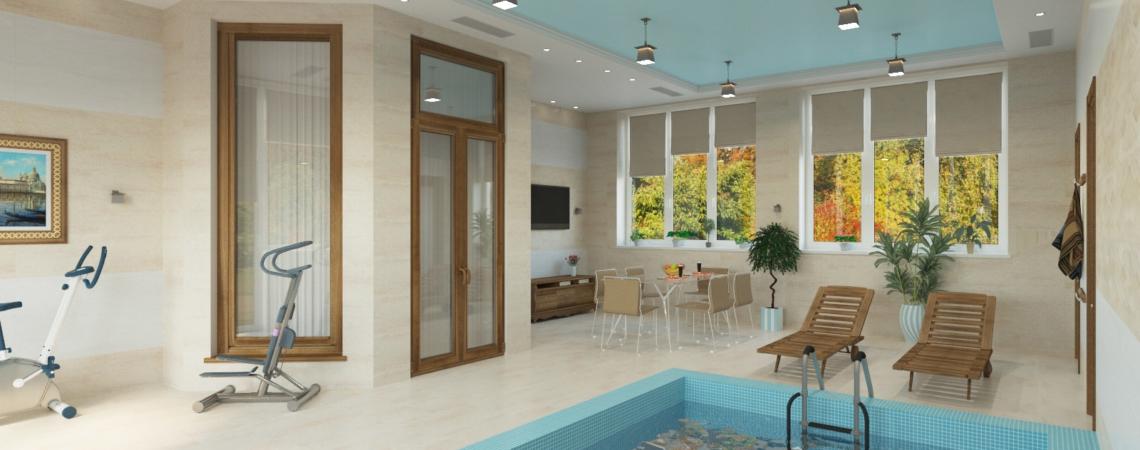 Дизайн 2-х этажного жилого дома с бассейном
