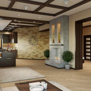 Двух-этажный дом с разнообразием стилей интерьера 1 этаж
