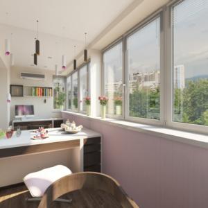 Дизайн-проект квартиры-студиии Запорожье балкон