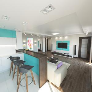 Дизайн-проект квартиры-студиии Запорожье гостиная и кухня