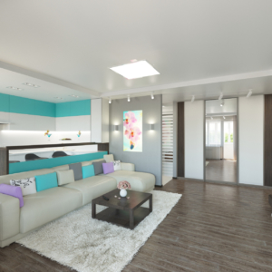 Дизайн-проект квартиры-студиии Запорожье гостиная