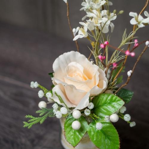 Цветочная композиция персиковая роза с матиолой Запорожье