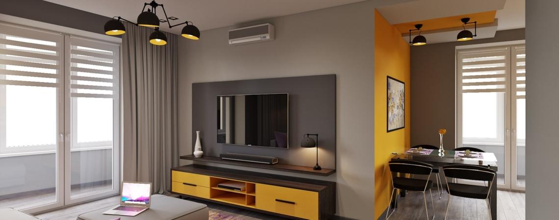 интерьер двухкомнатной квартиры в стиле футуризм