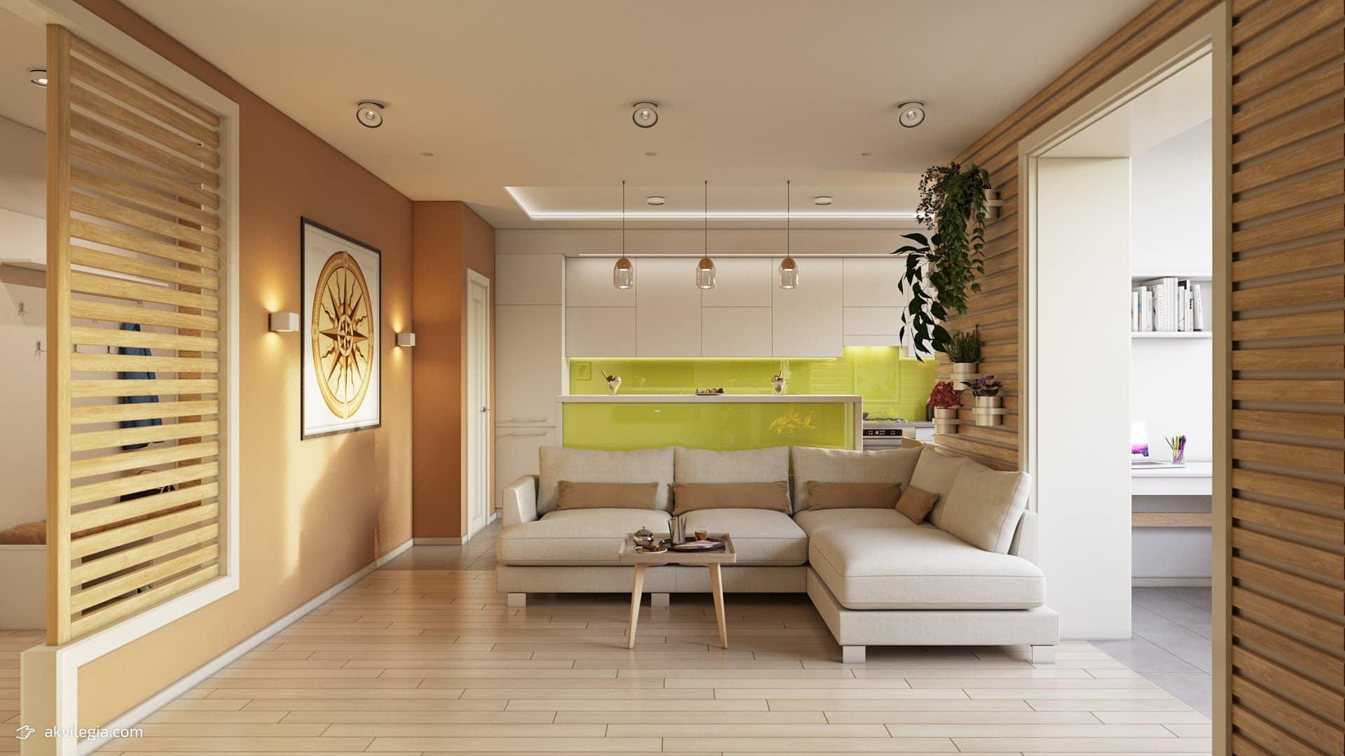 проект дизайна квартиры в эко-стиле гостиная