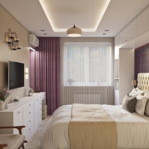 проект дизайна квартиры в эко-стиле спальня