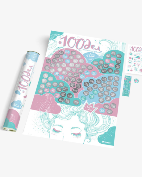 интерактивный скретч-постер 100 дел настоящей девочки