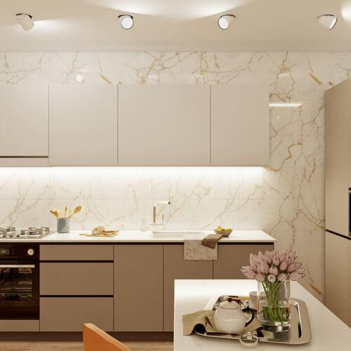 дизайн проект трехкомнатной квартиры в новостройке кухня