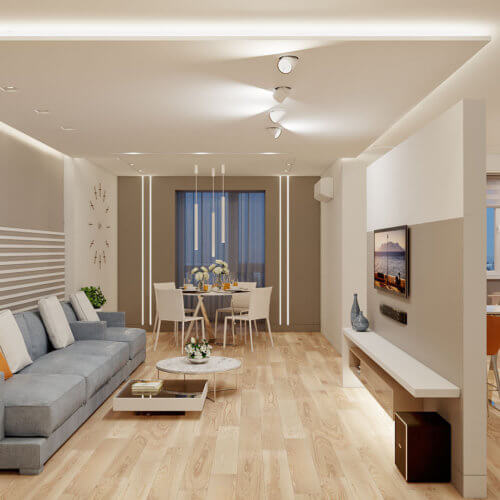 дизайн интерьера трехкомнатной квартиры гостиная Запорожье