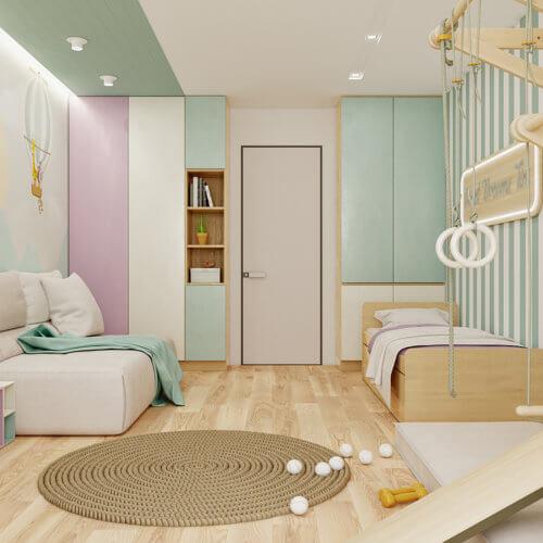 дизайн проект трехкомнатной квартиры в новостройке детская