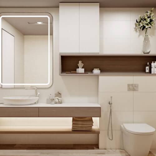 дизайн проект трехкомнатной квартиры в новостройке санузел