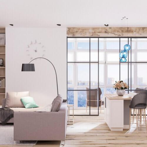 Дизайн квартиры в скандинавском стиле гостиная кухня студия