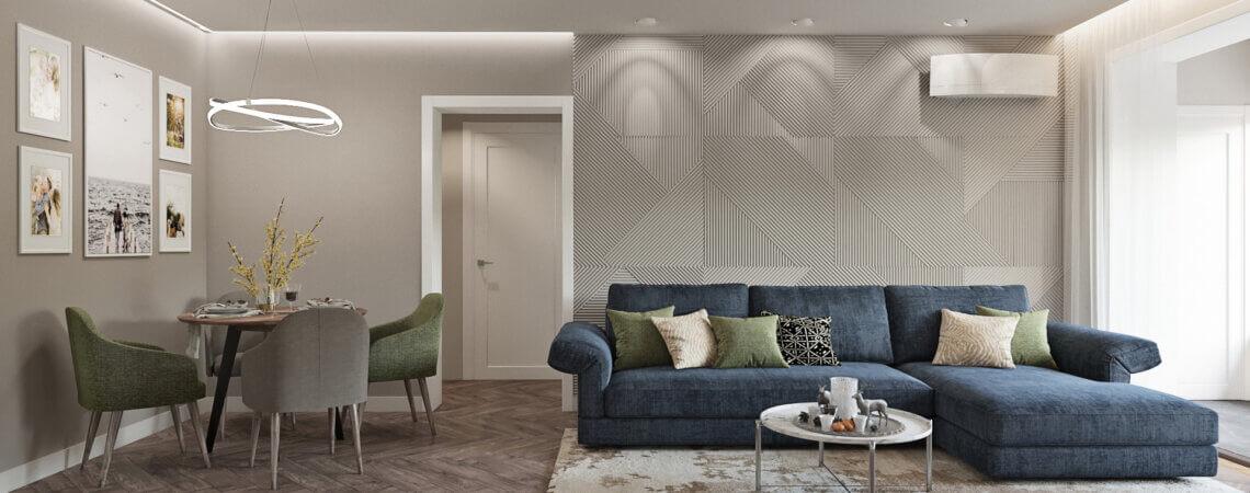 дизайн квартиры в контемпорари гостинная