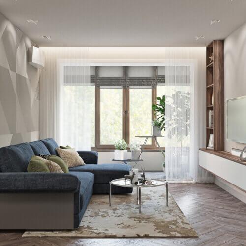 дизайн квартиры в контемпорари интерьер гостинной