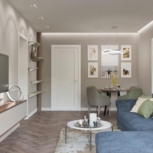 дизайн проект квартиры в контемпорари гостинная