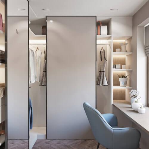 дизайн квартиры в контемпорари гардеробная