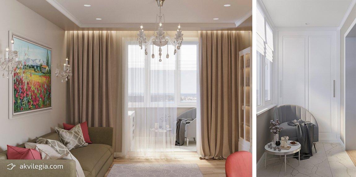 дизайн интерьера однокомнатной квартиры Запорожье