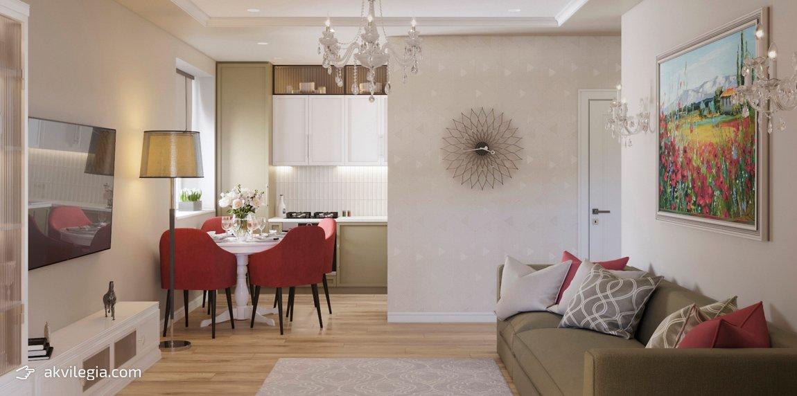 дизайн проект однокомнатной квартиры Запорожье